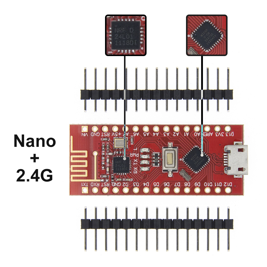 Nano с Загрузчиком совместимый Nano 3,0 контроллер для arduino CH340 USB драйвер 16 МГц Nano v3.0 ATMEGA328P/168 P - Цвет: ATMEAG328 with 24L01