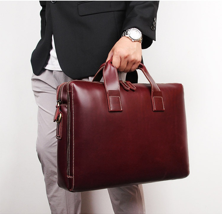 Luufan Men Red Briefcase Genuine Leather Bag 15
