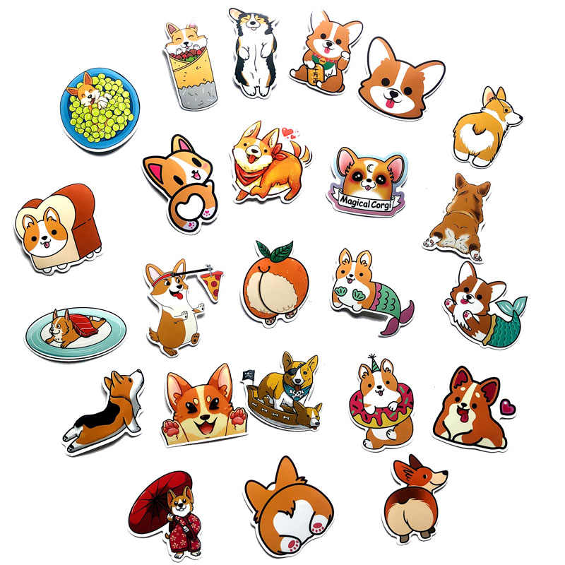 25pcs Welsh Corgi Pembroke Cartoon Stickers Cute Animals Dog For Moto Car & Suitcase Cool Laptop Skateboard Stickers