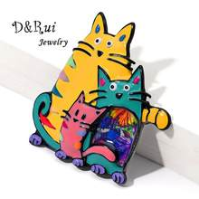 Best Selling Mothers Day Brooches Pins for Women Fashion Cute Animal Cat Family Jewelry Brooch Enamel Pin Kawaii Accessories