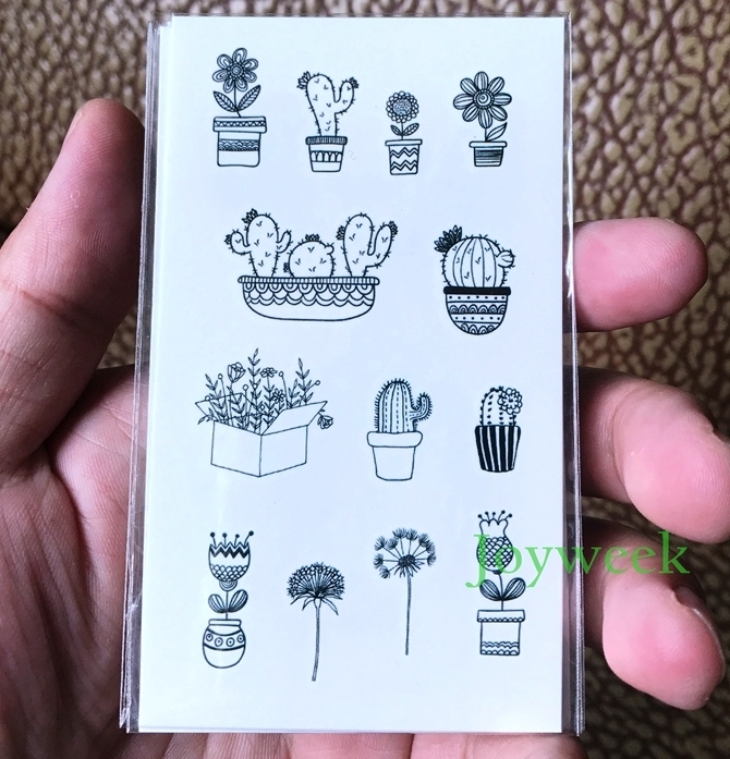 Waterproof Temporary Tattoo Sticker Small Stroke Sketch Potted Plants Tatto Stickers Flash Tatoo Fake Tattoos For Kid Girl Child