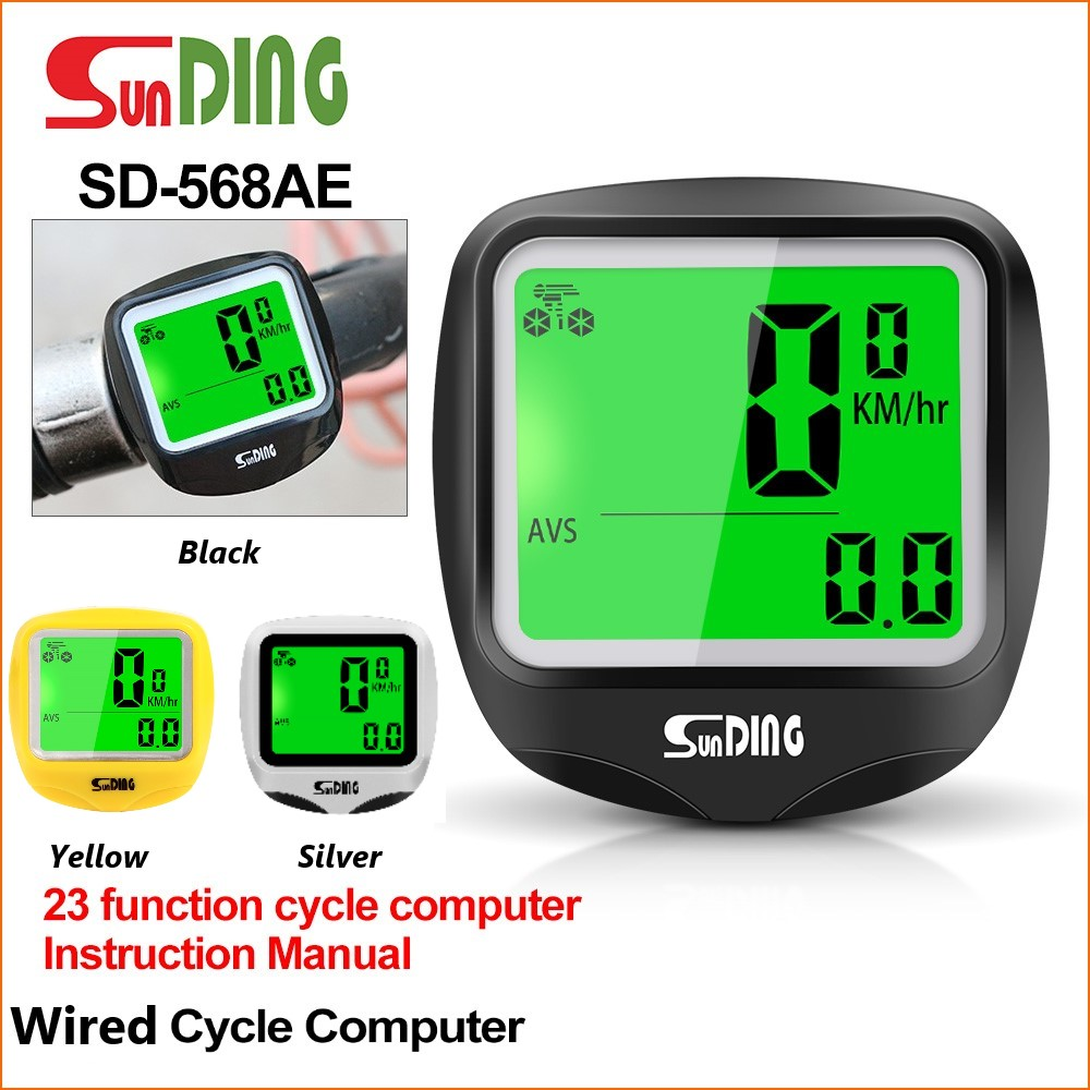Sunding-SD-568AE-Bike-Computer-Cycling-Computers-Bicycle-Speedometer-Wireless-Waterproof-Stopwatch-Odometer-LCD-Backlight-Black