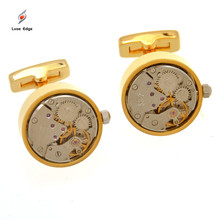 1 Pair High Quality Copper Made Tourbillon Cuff link Watch Movt Silver/Gold Color Men Shirt Cufflinks for Business Occasion