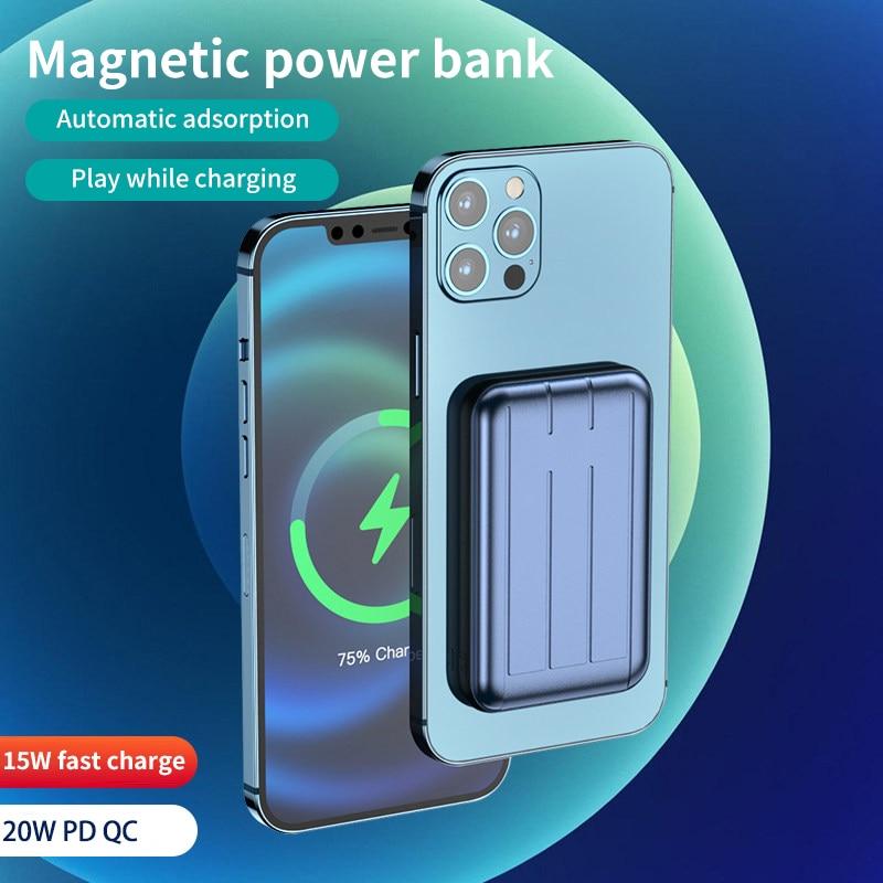 15 Вт, магнитное быстрое зарядное устройство, внешний аккумулятор для быстрой зарядки iphone 12pro Max 11 XS X, Магнитный телефон, Беспроводная зарядка...