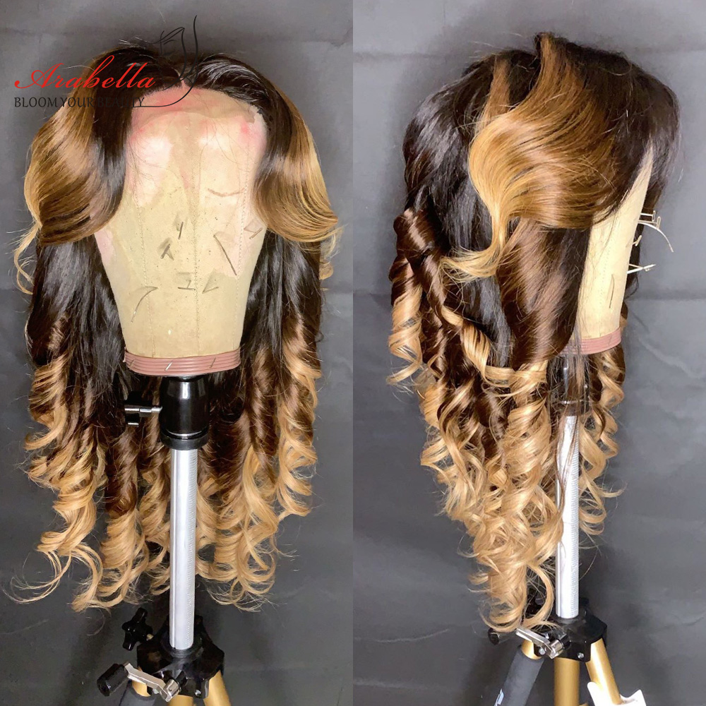 1B/4/27 Ombre   Bundles With Closure Arabella Body Wave 100%  Hair  With Closure Free/Three Parts 5