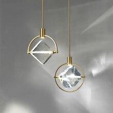 Postmodern minimalist LED kolye ışıkları Nordic kristal yemek oturma odası armatürleri başucu yatak odası tek kafa asılı lamba