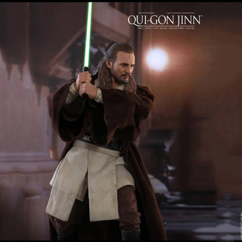 In Stock HOTTOYS 1/6 Scale Collectible Full Set MMS525 Qui-Gon Jinn Action Figure Model for Fans Holiday Gifts collectible 1 12 scale full set thor ragnarok action figure doll figure weapon model for fans holiday gifts