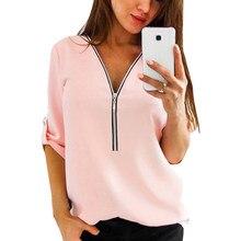 Novo outono moda feminina t-shirts sexy com decote em v com zíper casual camisetas topos camisas camisa mujer camisa superior plus size 4xl