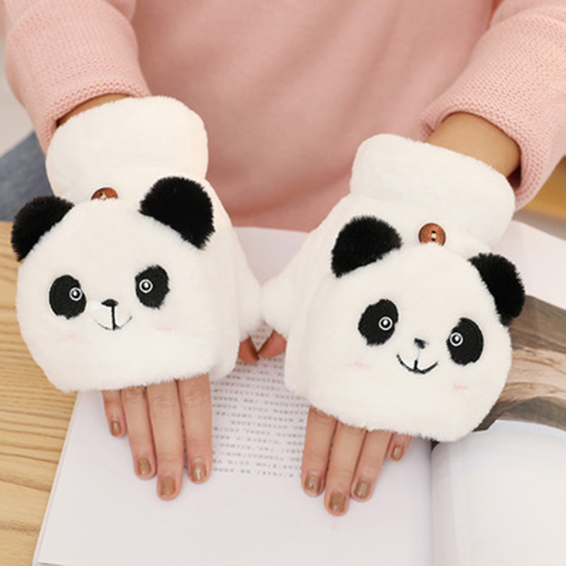 Female Accessories Touch Screen Gloves Cashmere Cartoon Panda Half Finger Flip Gloves Driving Warm Cold Protection Gloves E21