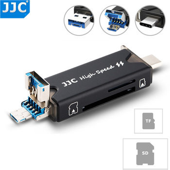 JJC USB 3.0 Card Reader SD TF Micro SD Card Reader For Laptop Computer Smart Phone Tablets Micro USB 2.0 Type-C USB 3.0 Ports