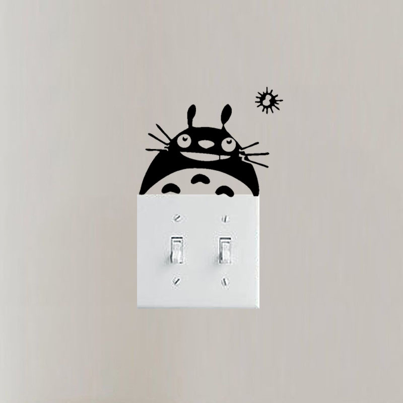 Cute Totoro Cartoon Wall Stickers Decorative Painting Pvc Stickers Switch Stickers Refrigerator Stickers Bedroom Decoration in Wall Stickers from Home Garden
