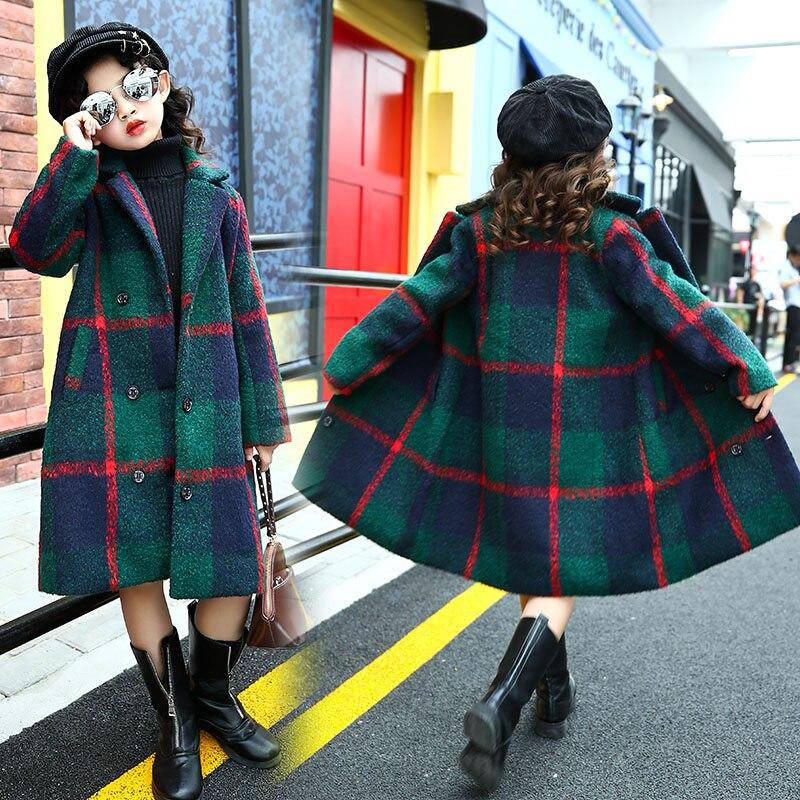 Classic Teenage Long Wool Coat for Girl Green Plaid Jacket Overcoat Kids Plus Size Loose Warm Wool Blend Long Winter Trench Coat