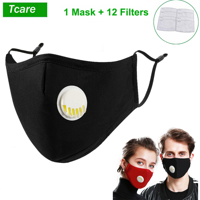 1Pcs Fashion Respirator Face Mask With Breathing Valve Washable Cotton + 12Pcs Activated Carbon Filter PM2.5 Mouth Masks
