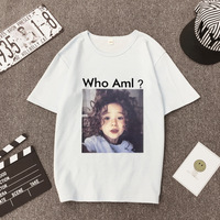 New Fashion Short Mouw T shirt Letter AmI Women's Clothing Printed Sweet Baby Cat Funny T shirt Women
