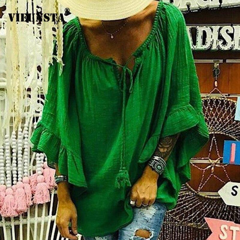 VIEUNSTA Women Sexy Ruffle V-neck Cotton Linen   Blouse   Autumn Long Sleeve Loose   Shirt   Femme Solid Tie-up Streetwear Top Blusa 5XL