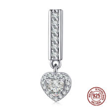 Genuine 925 sterling silver heart shaped clear CZ pendant charm fit Pandora reflexions watch bracelet beads jewelry(China)