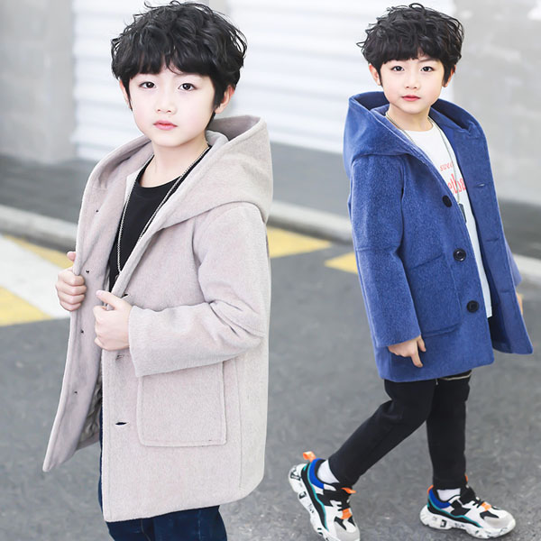 Children's woolen coat boy hooded cotton-padded coat fashion 4-14 years old
