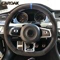 Кардак углеродного волокна черный замшевый чехол рулевого колеса автомобиля для Volkswagen Golf 7 GTI Golf R MK7 Polo Scirocco 2015 2016