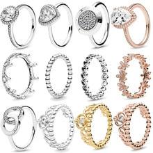 Auténtica Plata de Ley 925 corona princesa Tiara Corazón de amor brillante, CZ anillos para mujer compromiso joyería aniversario