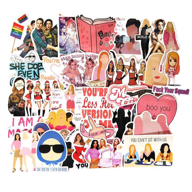 35sets/lot Mean Girls Graffiti Sticker Kids DIY Skateboard Laptop Luggage Mobile Phone Bike Bicycle Waterproof Sticker