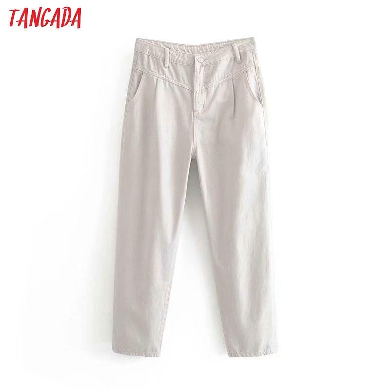 Tangada Fashion Women Gray Loose Mom Jeans Pants Long Trousers Pockets Zipper Loose High Street Female Pants 6P81