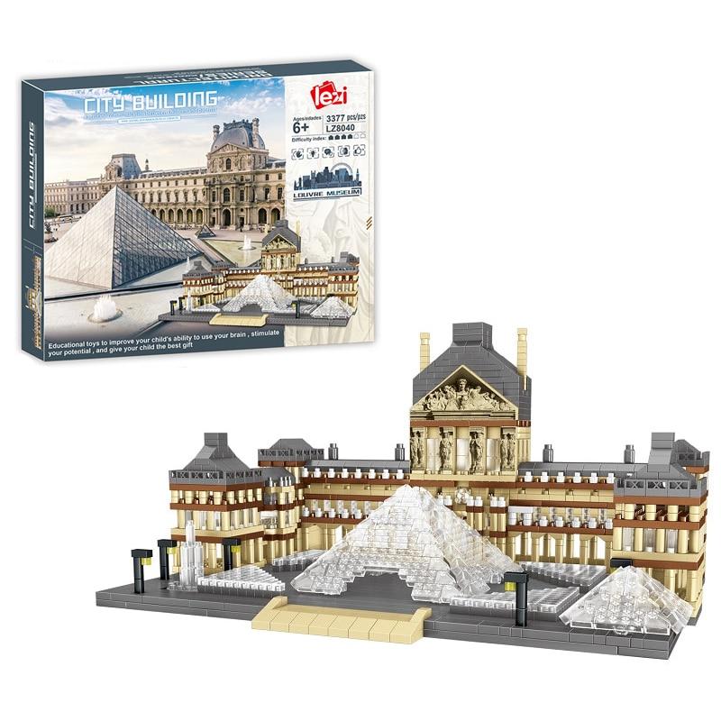 3377 шт. + Парижский музей Лувра мини-строительные блоки известный во Франции Музей архитектуры алмазные блоки игрушка для детей подарок