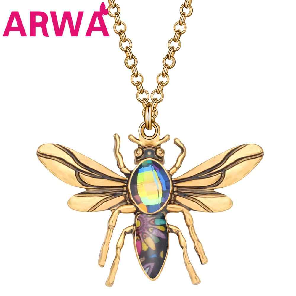 ARWA の合金メッキアンティークラインストーン花蜂蜂蜜ネックレスペンダント精神昆虫ジュエリーフェスティバルパーティー女性女の子