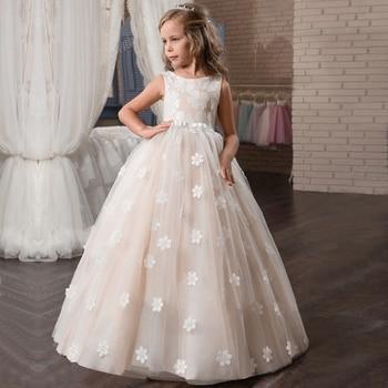 Vestidos blancos de flores para Niñas para boda tul encaje vestido largo de chica fiesta Navidad vestido niños princesa disfraz para niños 12T 1