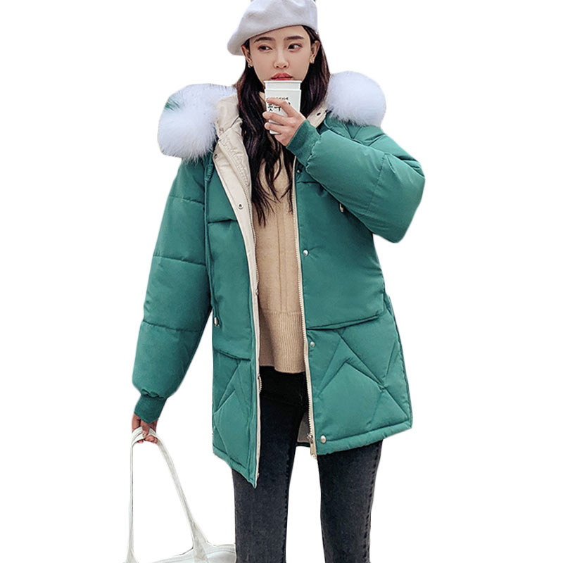 New Women Thick Warm Down cotton Jacket Womens loose Casual Plus size Cotton Jackets Winter long Hooded Fur collar   Parkas   F877