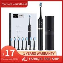 Fairywill – brosse à dents électrique sonique P11 Plus, étanche, nettoyage, charge rapide, minuterie intelligente avec 8 têtes de rechange, étui de voyage