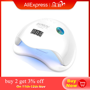 Image 1 - SUNUV SUN5 Plus 48W UV Led lampada per asciugare le unghie per curare tutti i tipi di Gel 99s a basso calore 36 Led lampada UV per macchina per Nail Art a due mani