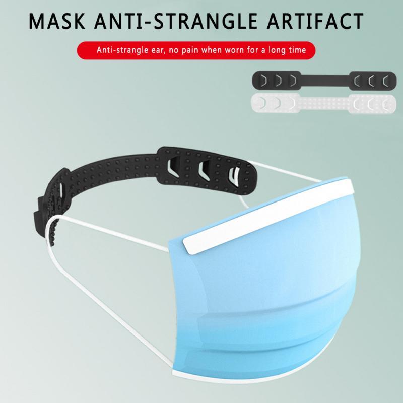 1 Pcs Black/transparent Mask Extension Clasp TPU Soft Face Mask Hooks Buckle Adjustable Lengthened Mask Rope Prevent Ear-pulling