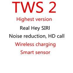 TWS 2 AI Sensore di Controllo Vocale Intelligente di ricarica Senza Fili Auricolari Auricolare Bluetooth Auricolare Senza Fili Della Cuffia best versione