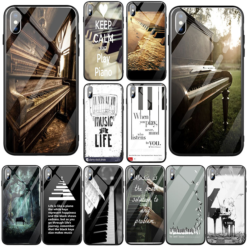 Music Software Piano Plug Tempered Glass Mobile Phone Cases for iphone 7 6S 6 8 Plus X XR XS 11 Pro Max Coque Shell image