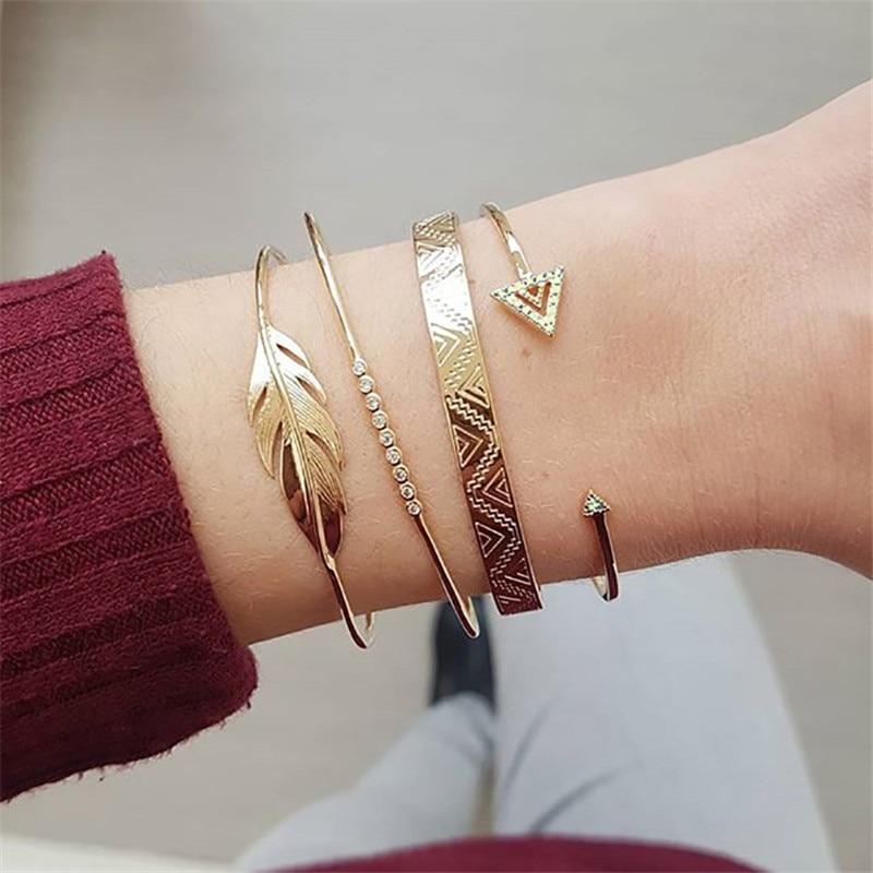 LETAPI 4 Pcs/set Bohemian Gold Color Punk Vintage Crystal Triangle Leaves Wedding Bracelet Set Women Charm Jewelry Gifts
