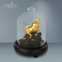 Ox Sculpture Gold Foil Crafts Golden Bull Lucky Ox Statue Office Decoration Home Art Animal Craft Ornament Accessories Gifts