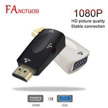 Fangtuosi adaptador de hd 1080p, adaptador de hdmi para vga, conversor de cabo de áudio macho para fêmea para pc, laptop, tv box e computador projetor de exibição