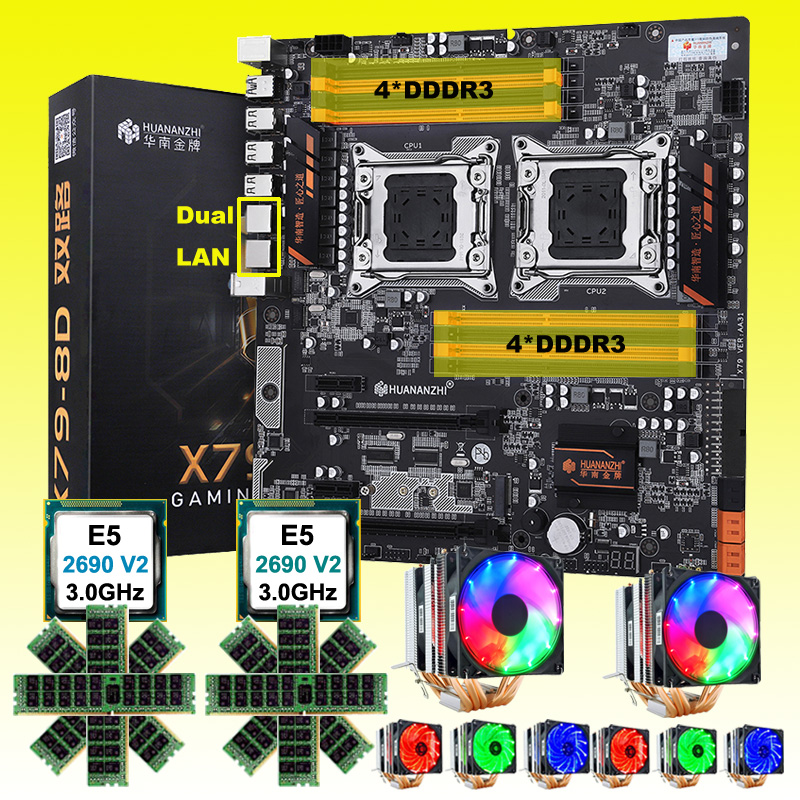Discount <font><b>HUANANZHI</b></font> <font><b>X79</b></font>-<font><b>8D</b></font> dual <font><b>X79</b></font> motherboard with M.2 SSD dual CPU Xeon E5 2690 V2 with coolers RAM 128G(8*16G) 1866MHz RECC image
