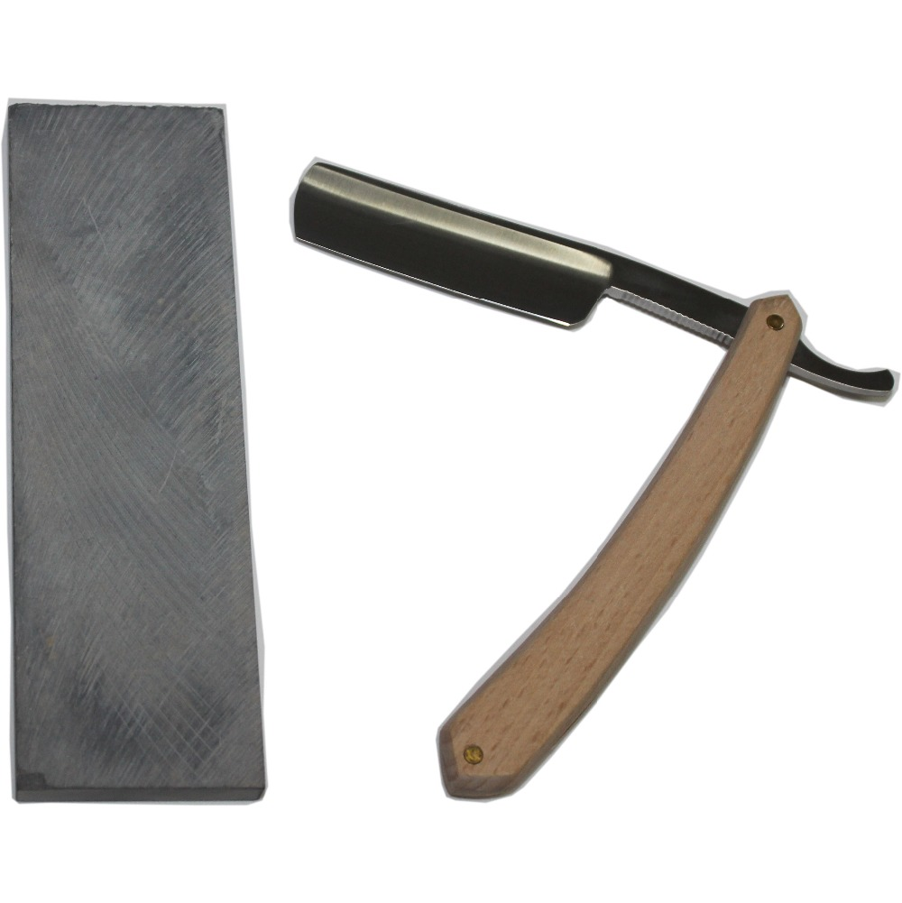 1 Razor +1 Grind Stone New Men Shaving Straight Razor Salon Barber Cut Throat Razors Beech Wood Handle Steel Razor Blade