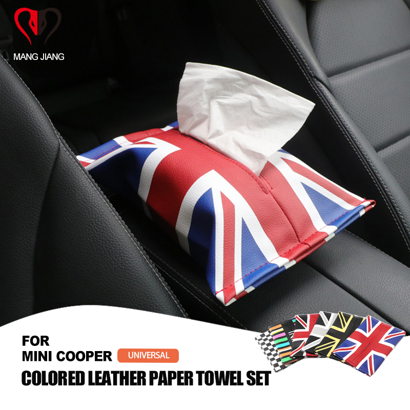 Auto Interior Union Jack PU Leather Car Tissue Napkin Box Bag package Armrest box Storage for Mini Cooper JCW S One All Series