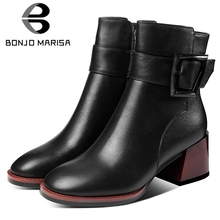 BONJOMARISA New 34-42 Luxury Brand Fashion Booties Ladies Black Genuine leather Ankle Boots Women 2019 High Heels Shoes Woman