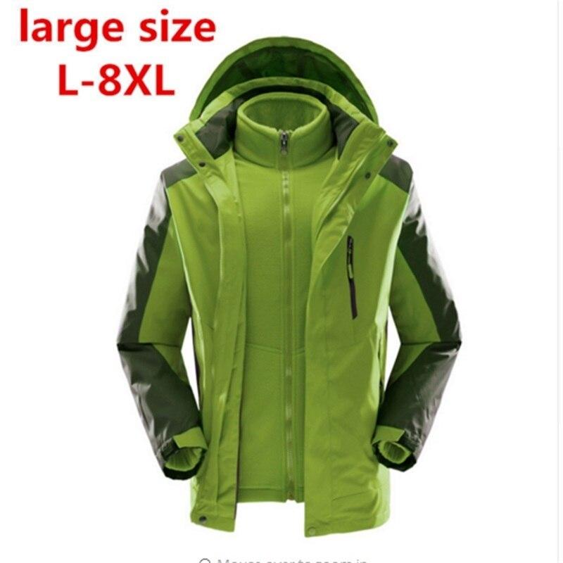 Высокое качество Большой размер 8XL 7XL водонепроницаемая ветрозащитная Верхняя одежда Куртка профессиональная теплая 2 в одном зимняя куртк