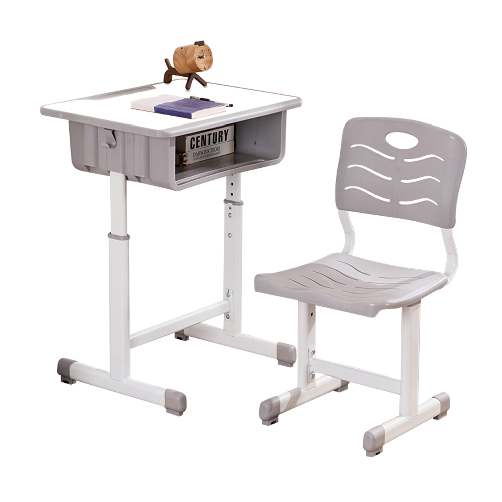 US $37.37 37% OFFAdjustable Children Desk and Chairs Set Density Board &  Plastic White Student Desk Set with Pencil Slot For School SuppliesOther