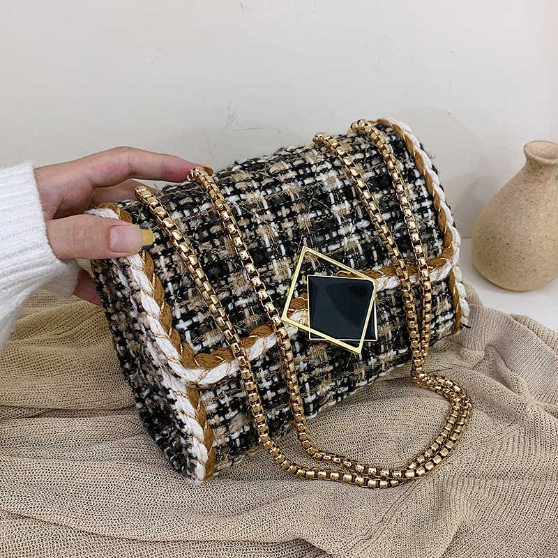 Woolen Crossbody Bags For Women 2019 Winter Luxury Lock Shoulder Messenger Bag Lady Travel Chain Handbags and Purses