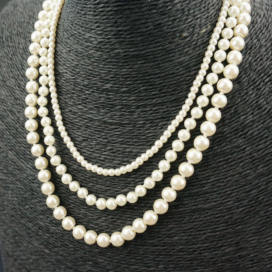 CS2065 925 bijoux classique collier de mariage coquille perle crème double chaîne dame