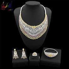 Yulaili Trendy Zinc Alloy Big Necklaces Pendant Earrings for Women Nigerian Zircon Wedding Dubai Jewelry Set Accessories Bijoux цена