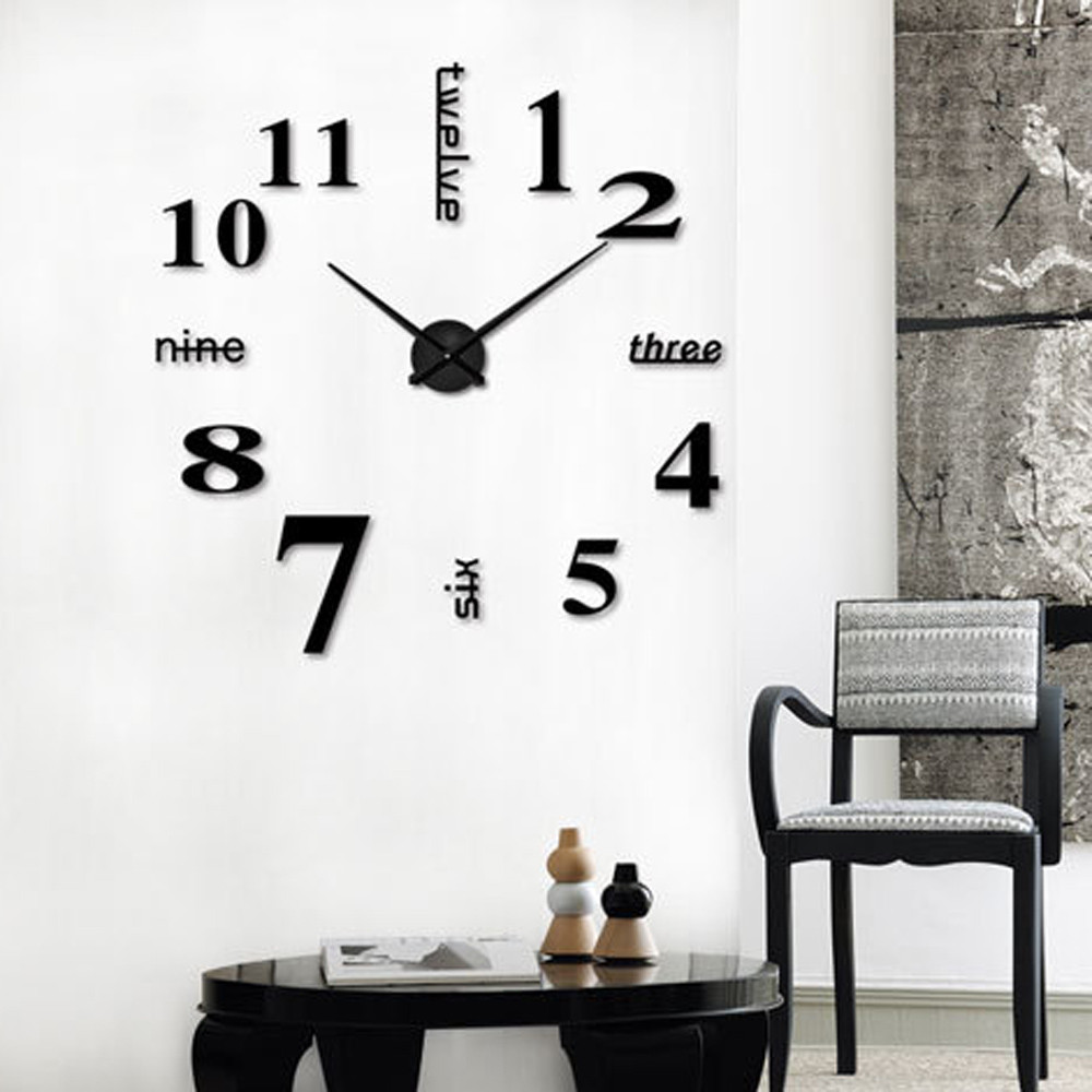 Wall-Clock Decorative Dining-Room Acrylic 3D Kitchen DIY title=