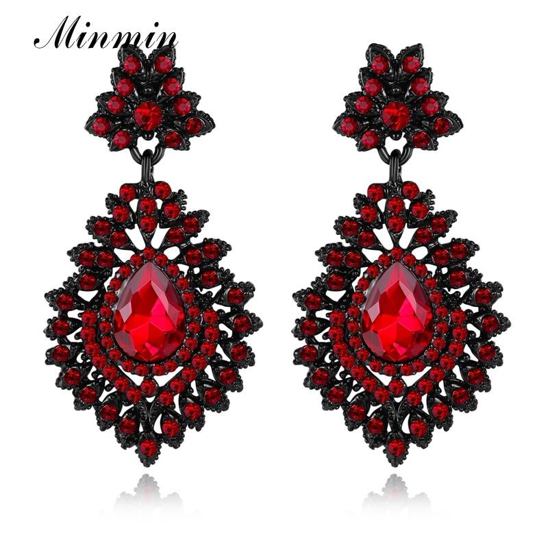 Minmin Pernyataan Besar Teardrop Kristal Panjang Drop Earrings untuk - Perhiasan fashion - Foto 5