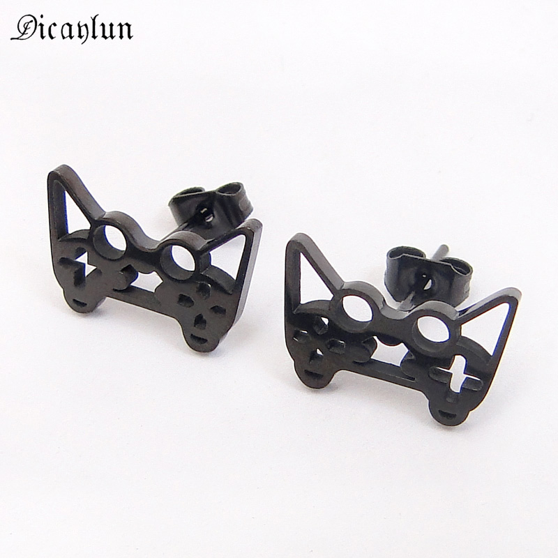 Gamepad Earrings Stainless Steel Gamer Jewelry Gold Black Unique Earrings Studs for Kids Girls Boys Party Jewellery Hip Hop
