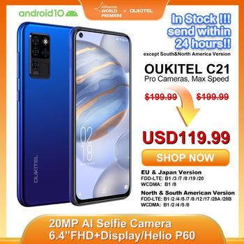 OUKITEL C21 Smartphone Helio P60 Quad Camera 20MP Selfie 6.4'' FHD+ Hole Punch Screen 4000mAh Octa Core 4+64GB Phone 4G Celular
